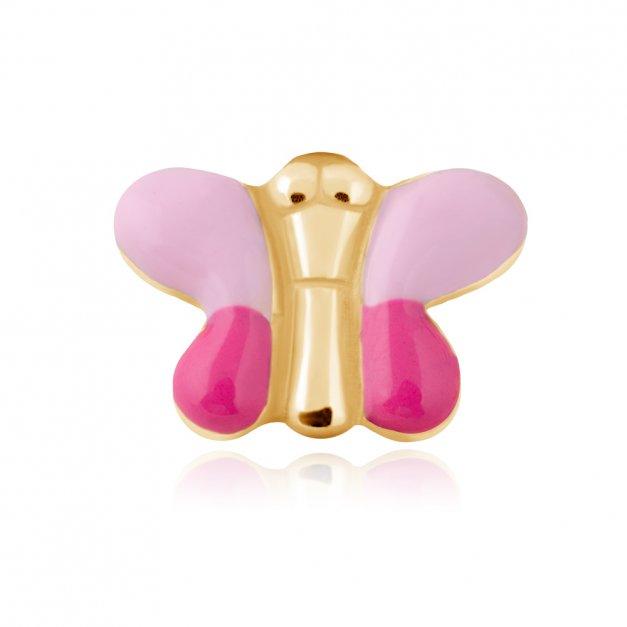 Złote Kolczyki 333 Różowe Motylki Grawer