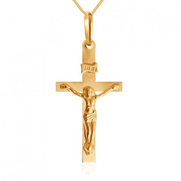 Złoty Krzyżyk 585 Modesto z Pasyjką Łańcuszek Grawer