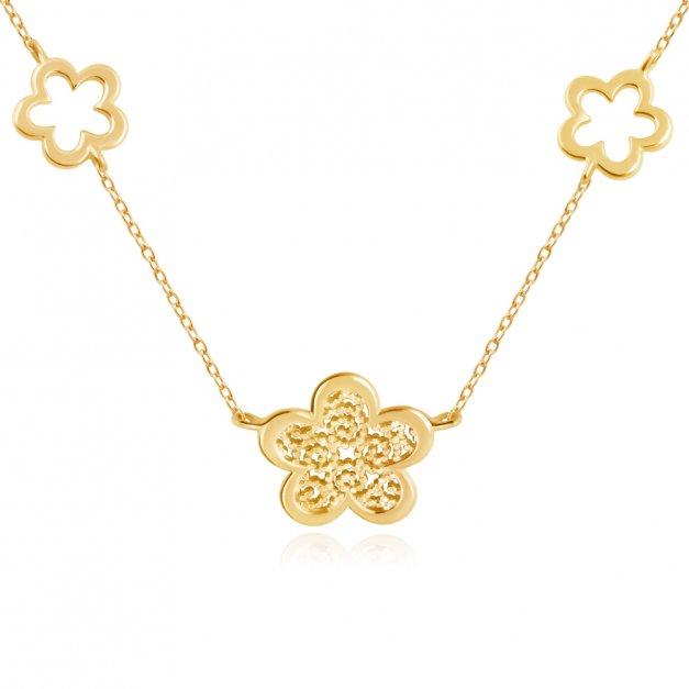 Złoty Naszyjnik Celebrytka 333 Kwiaty Boho Grawer