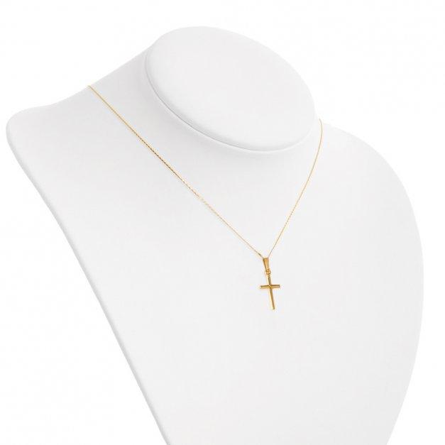 Złoty Krzyżyk 585 Klasyczny z Łańcuszkiem Grawer