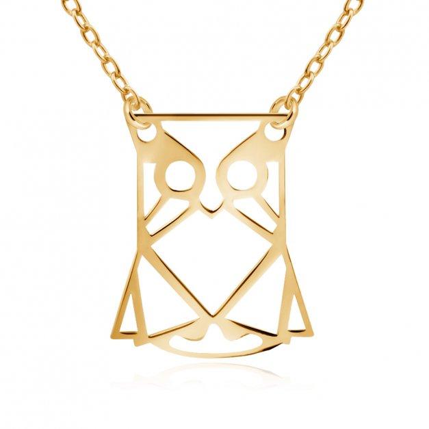 Srebrny Naszyjnik Złocony 925 Geometryczna Sowa Grawer