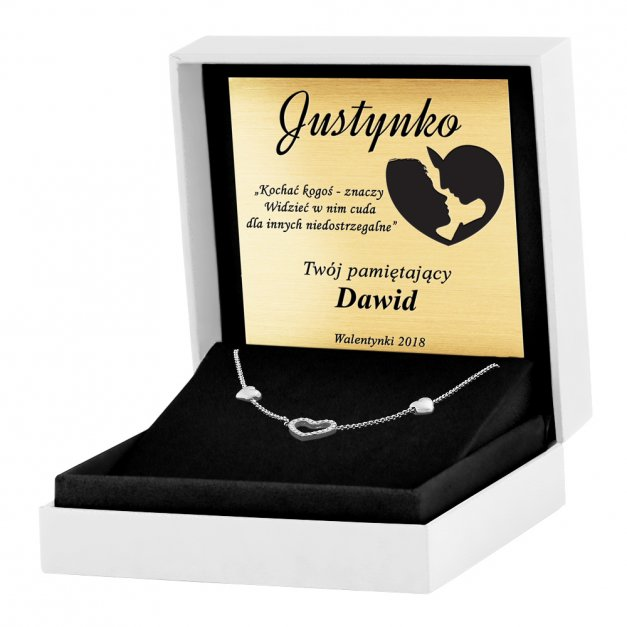 Srebrny Naszyjnik 925 Serce Kryształki Grawer