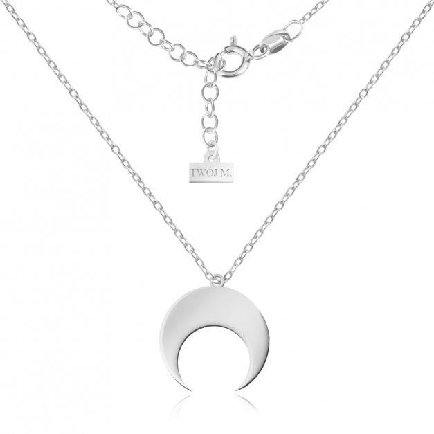 Srebrny Naszyjnik 925 Celebrytka Księżyc Grawer