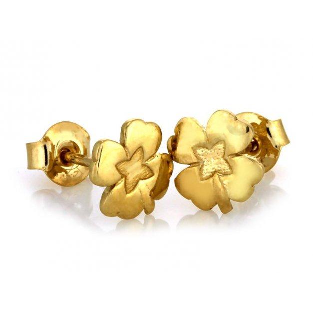 Złote kolczyki 585 na sztyft PREZENT GRAWER