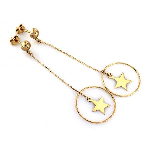 Złote kolczyki 585 wiszace gwiazda PREZENT GRAWER